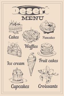 Menu di dessert con schizzo di dolci