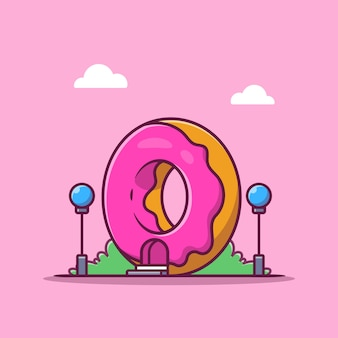 Illustrazione dell'icona del fumetto del negozio di dessert. fast food building icon concept isolato. stile cartone animato piatto
