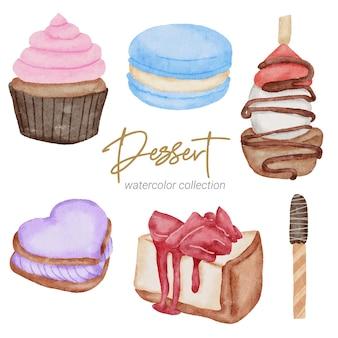 Collezione di pittura a mano ad acquerello per dessert