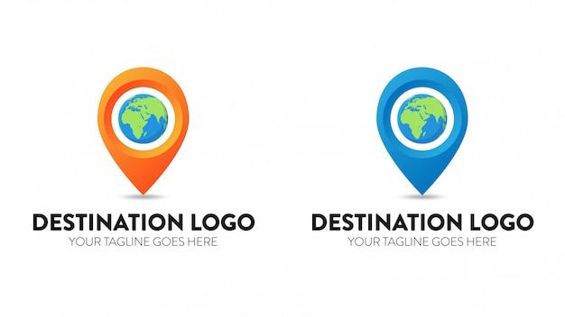Modello di progettazione di vettore di logo di destinazione Vettore Premium