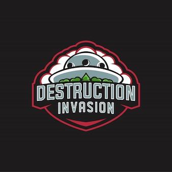 Distruzione invasion logo esports Vettore Premium