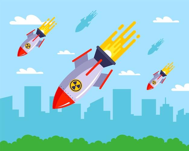 Distruzione di una città pacifica con missili nucleari.