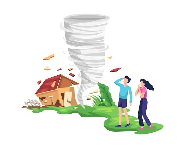 Illustrazione distruttiva del tornado. tornado torcente che distrugge casa, la gente aveva paura e si salvò. la tempesta di uragano in campagna sta rompendo alberi e costruendo. in stile piatto