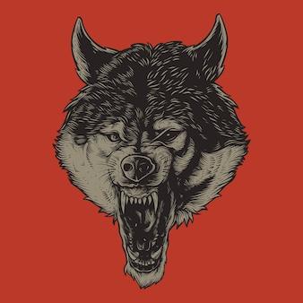 Testa di lupo arrabbiato dettagliata isolata sul rosso