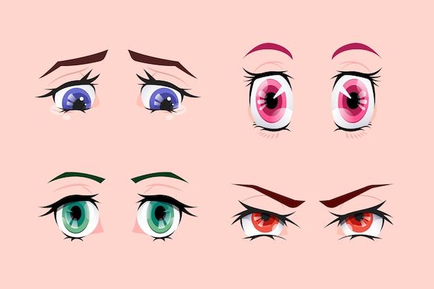 Collezione colorata dettagliata degli occhi anime
