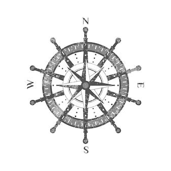 Icona antica dettagliata della rosa dei venti della bussola