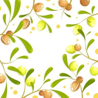 Sfondo dettagliato di olio di argan illustrato