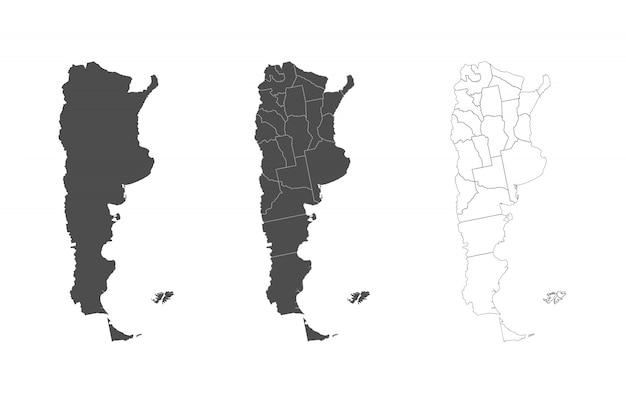 Mappa dettagliata dell'argentina con i confini delle regioni.