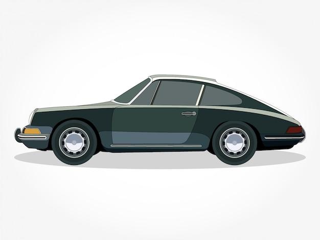 Corpo dettagliato e cerchioni di un'illustrazione di cartone animato classico auto piatta colorata con tratto nero ed effetto ombra