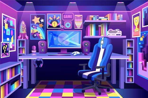 Stanza del giocatore colorata dettagliata