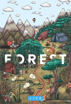 Dettagliata illustrazione vettoriale colorato. vita segreta in una foresta da favola con animali, uccelli, piante e creature fantastiche