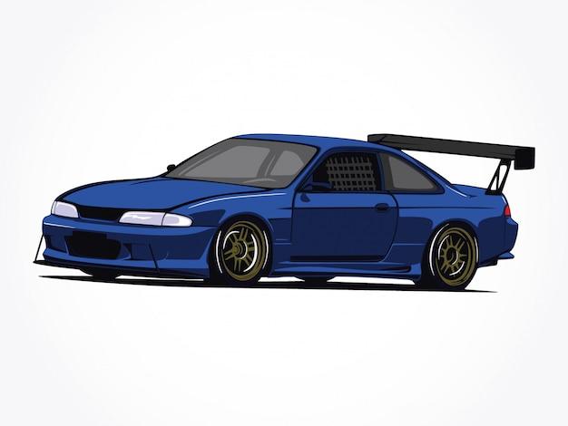 Arte su ordinazione dettagliata dell'illustrazione del fumetto dell'automobile