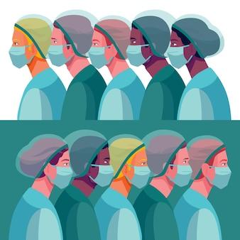 Illustrazione dettagliata di medici e infermieri