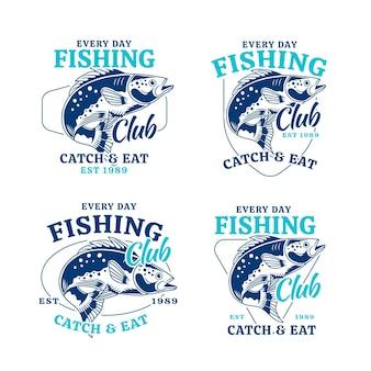 Collezione dettagliata di badge da pesca