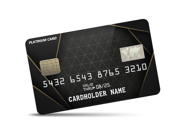 Carta di credito platino lucida dettagliata con decorazione a motivi