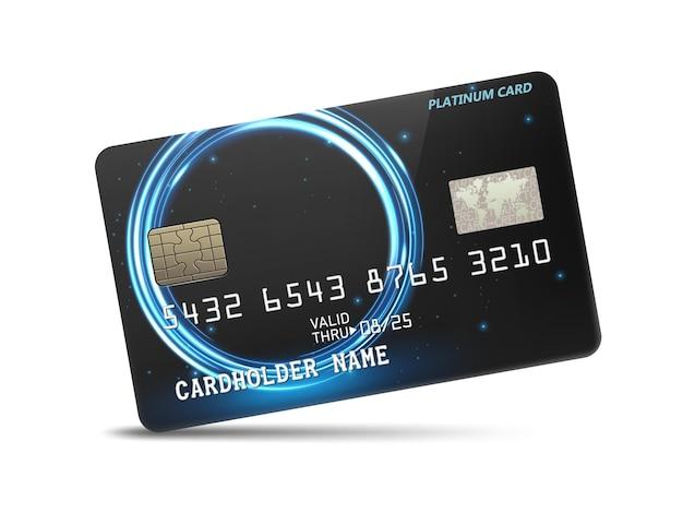 Carta di credito platino lucida dettagliata con decorazione ondulata di luce al neon vector