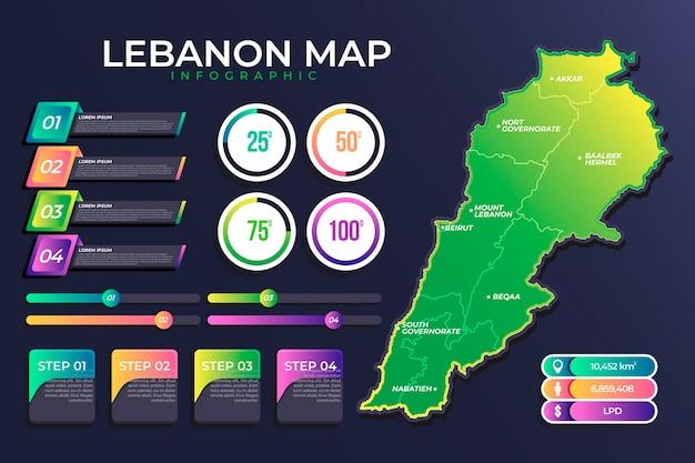 Mappa dettagliata del libano gradiente