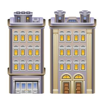 Illustrazione dettagliata degli edifici.