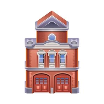 Illustrazione dettagliata dell'icona della stazione dei vigili del fuoco. .