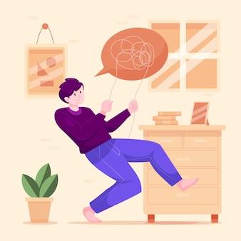 Illustrazione dettagliata della persona con problemi di salute mentale