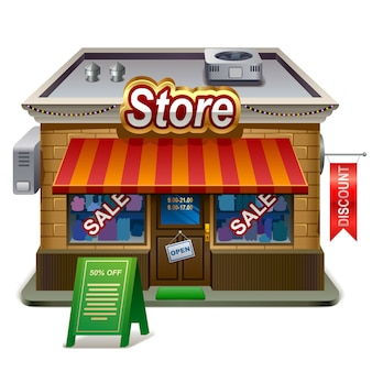 Illustrazione dettagliata del negozio. icona xxl