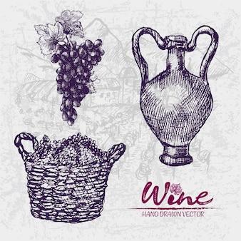 Illustrazione di cestino di uva viola disegnata a mano dettagliata linea arte