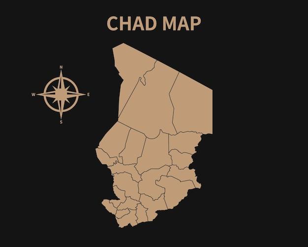 Vecchia mappa d'epoca dettagliata del ciad con bussola e confine regionale isolato su sfondo scuro
