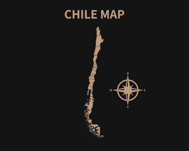 Dettagliata vecchia mappa vintage del cile con bussola e confine regionale isolato su sfondo scuro