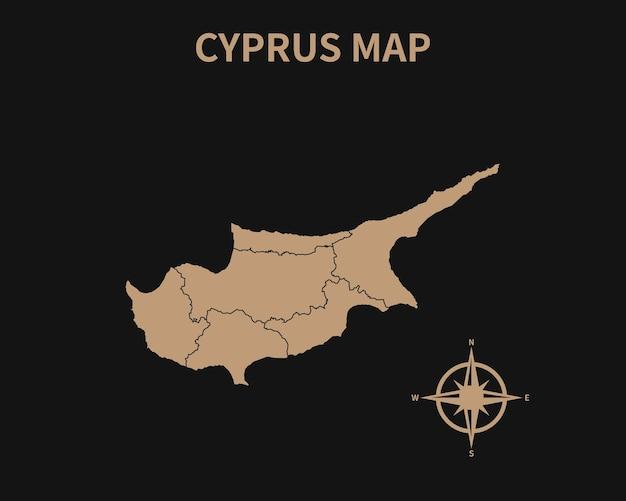 Vecchia mappa d'epoca dettagliata di cipro con bussola e confine regionale isolato su sfondo scuro