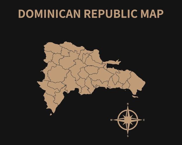 Vecchia mappa dettagliata dell'annata della repubblica dominicana con bussola e confine regionale