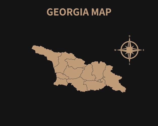 Vecchia mappa d'epoca dettagliata della georgia con bussola e confine regionale isolato su sfondo scuro