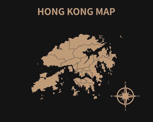 Vecchia mappa dettagliata vintage di hong kong con bussola e confine regionale isolato su sfondo scuro