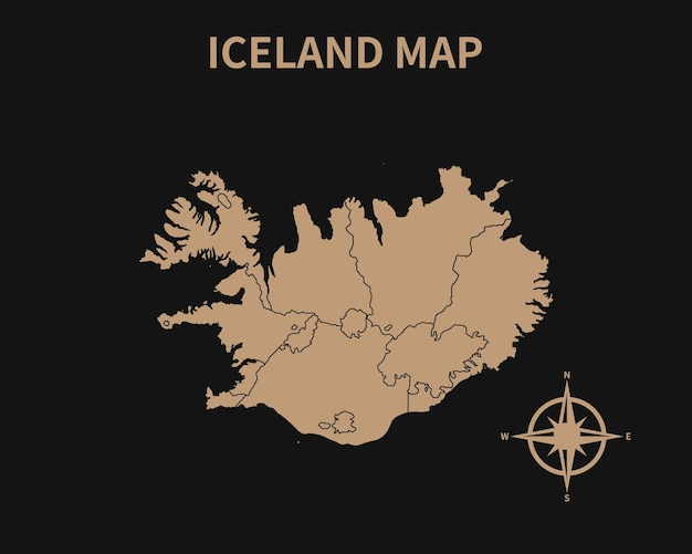 Dettagliata vecchia mappa vintage dell'islanda con bussola e confine regionale isolato su sfondo scuro