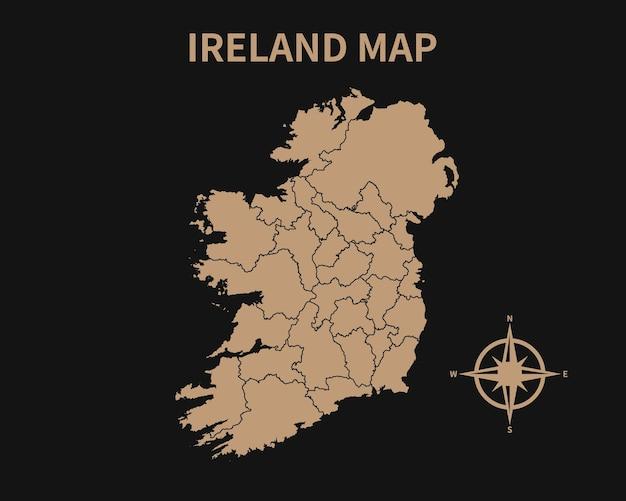 Dettagliata vecchia mappa vintage dell'irlanda con bussola e confine regionale isolato su sfondo scuro