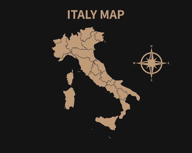 Vecchia mappa d'epoca dettagliata dell'italia con bussola e confine regionale isolato su sfondo scuro