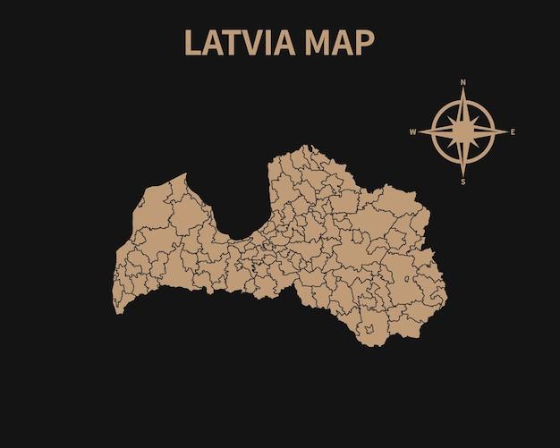 Dettagliata vecchia mappa vintage della lettonia con bussola e confine regionale isolato su sfondo scuro