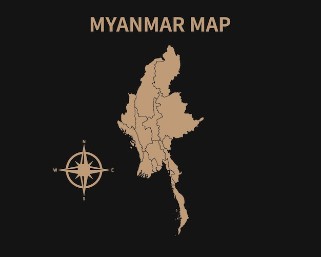 Vecchia mappa d'epoca dettagliata del myanmar con bussola e confine regionale isolato su sfondo scuro