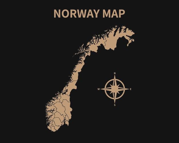 Dettagliata vecchia mappa vintage della norvegia con bussola e confine regionale isolato su sfondo scuro