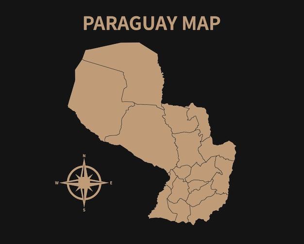 Dettagliata vecchia mappa vintage del paraguay con bussola e confine regionale isolato su sfondo scuro