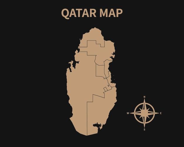 Vecchia mappa d'epoca dettagliata del qatar con bussola e confine regionale isolato su sfondo scuro