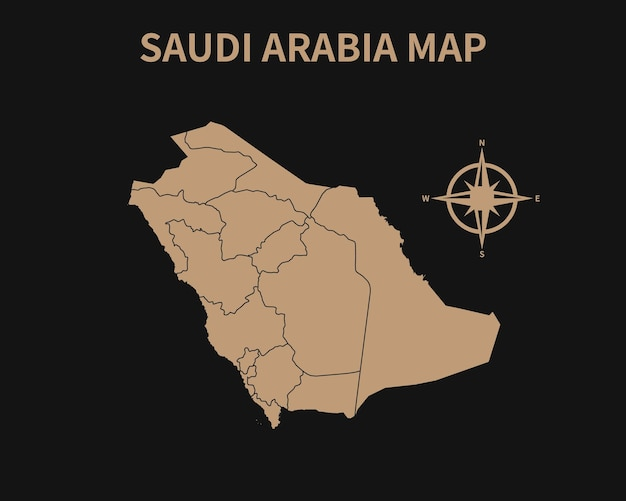 Vecchia mappa d'epoca dettagliata dell'arabia saudita con bussola e confine regionale isolato su sfondo scuro