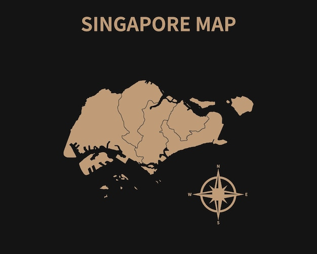 Vecchia mappa d'epoca dettagliata di singapore con bussola e confine regionale isolato su sfondo scuro