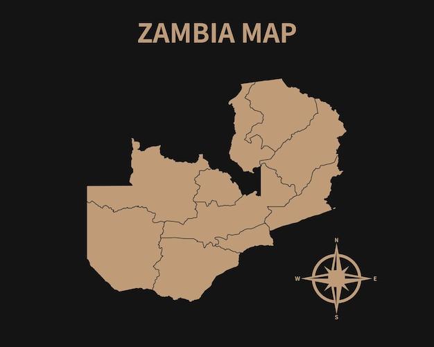 Dettagliata vecchia mappa vintage dello zambia con bussola e confine regionale isolato su sfondo scuro