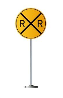 Segnali di avvertimento ferroviari dettagliati isolati su sfondo bianco.