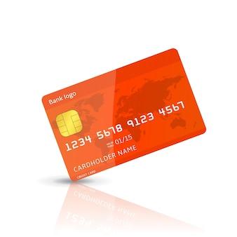 Illustrazione realistica dettagliata di una carta di credito di plastica isolata su bianco.