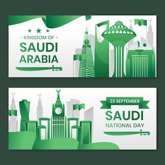 Set di bandiere orizzontali dettagliate per la giornata nazionale saudita