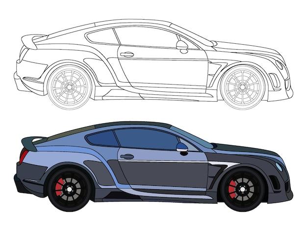 Lato dettagliato di auto berlina blu nero con opzione tratto nero per libro a colori personalizzabile