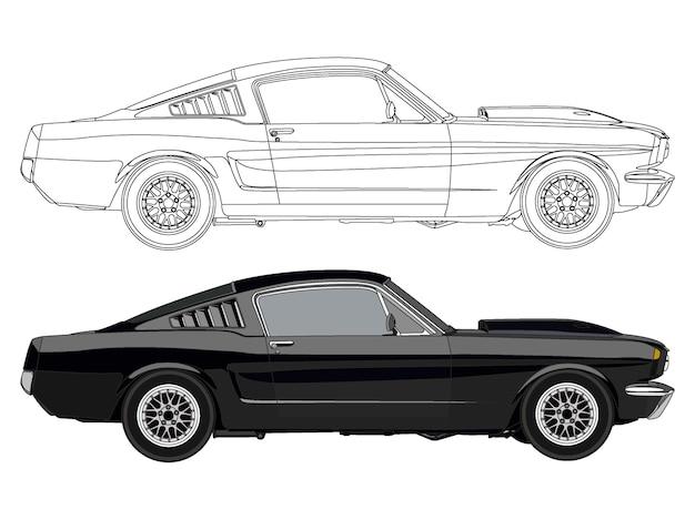 Lato dettagliato della vettura da corsa nera con opzione tratto nero per il libro a colori personalizzabile