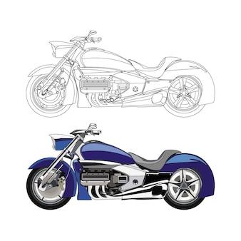 Lato dettagliato della moto blu con opzione tratto nero per libro a colori personalizzabile