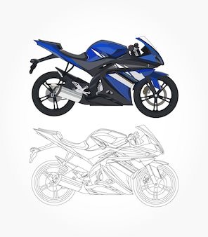 Lato dettagliato della moto sportiva blu con opzione di corsa nera per colore personalizzabile